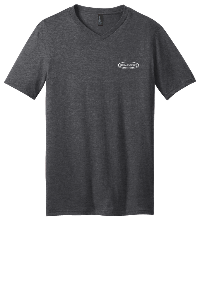 Rehab Source - Heathered Charcoal V-neck - Logo Only