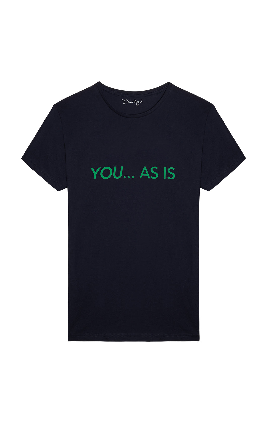 YOU...AS IS Navy Blue T-shirt with Green Text, English