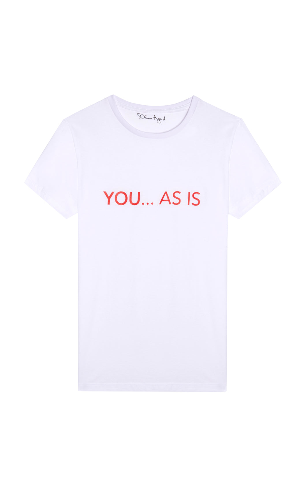 YOU...AS IS White T-shirt with Red Text, English