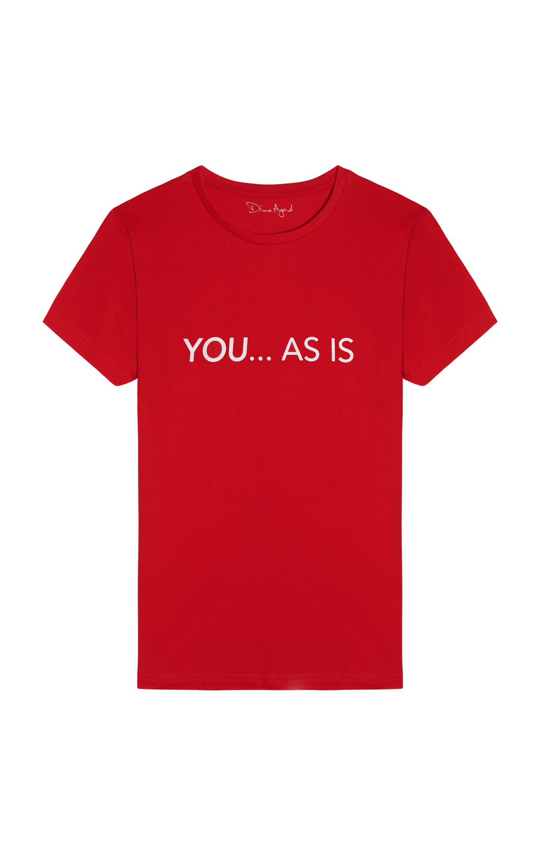 YOU...AS IS Red T-shirt with White Text, English