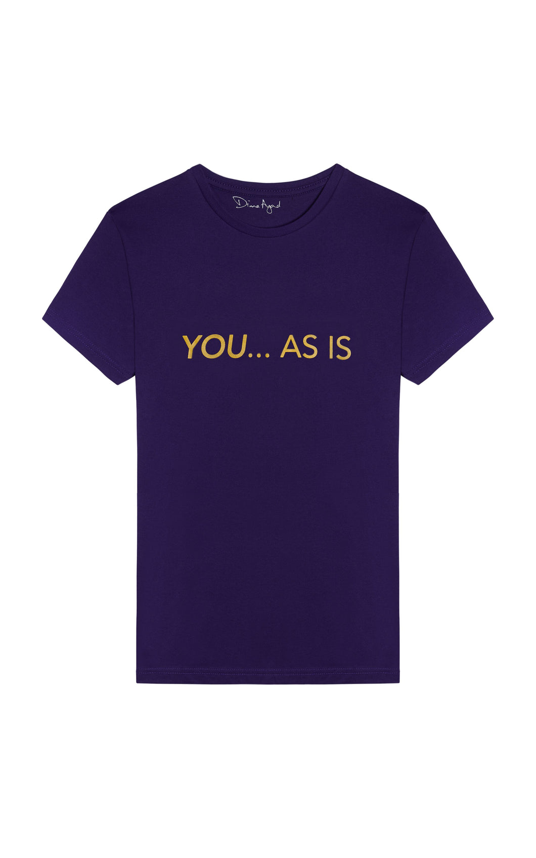 YOU...AS IS Purple T-shirt with Gold Text, English