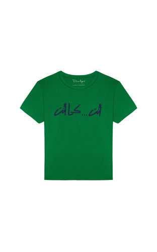 YOU...AS IS Calligraphy by Nadine Kanso Green T-shirt with Navy Blue Text, Arabic