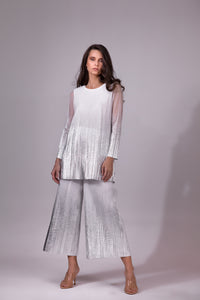 Pleated Metallic Culottes