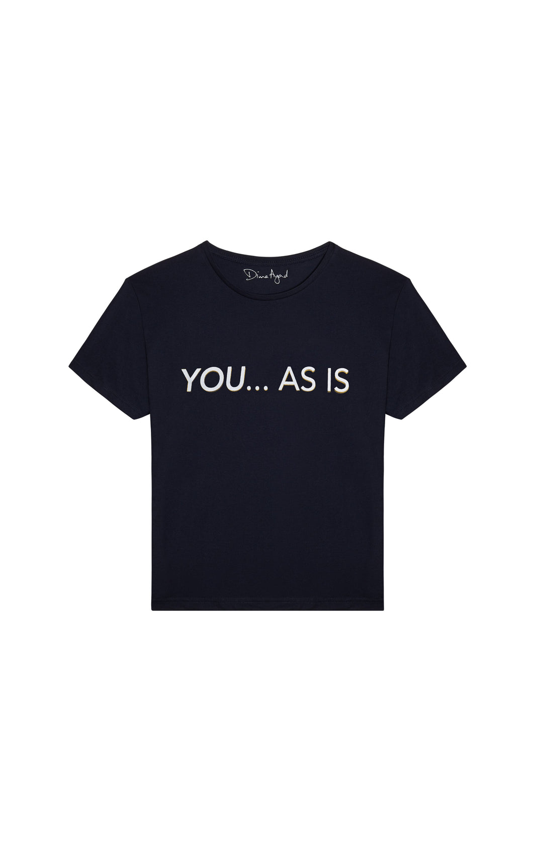 YOU...AS IS Navy Blue T-shirt with White Text, English