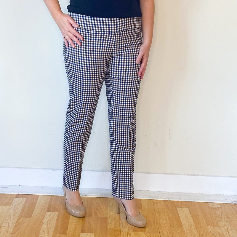 Plaid Pull On Ankle Pant-Navy/Chocolate