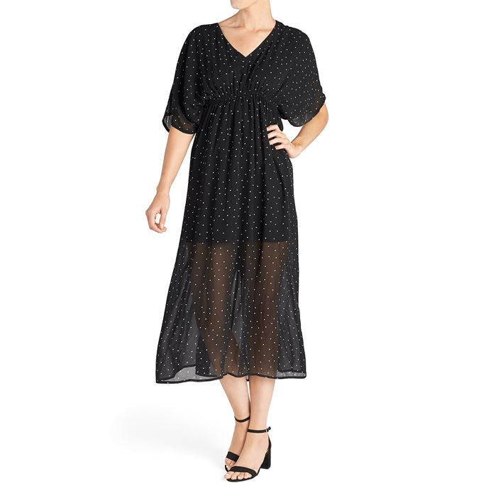 Modern Twist Dolman Sleeve Dress-Black Dot