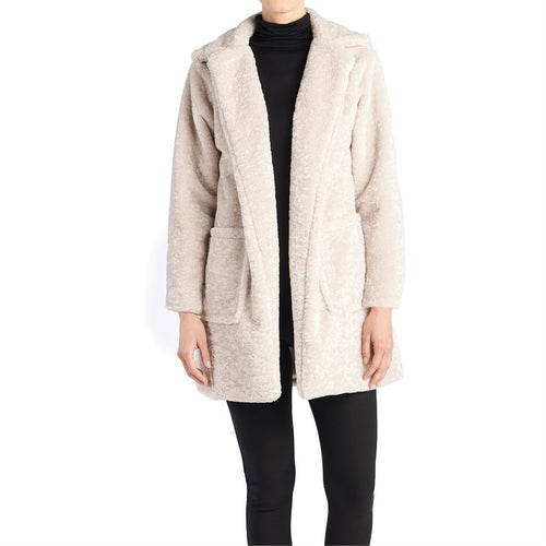 Nico Faux Lamb Fur Coat-Stone