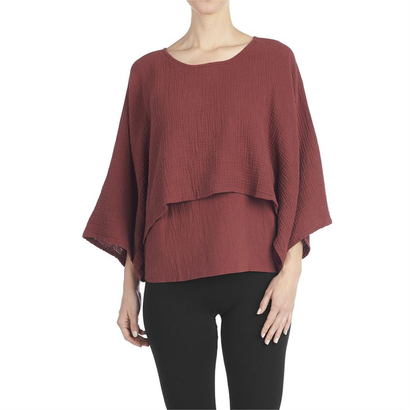 Double Layer Gauze Tunic-Mahogany