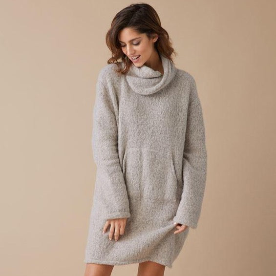 Fuzzy Pocket Tunic-Taupe