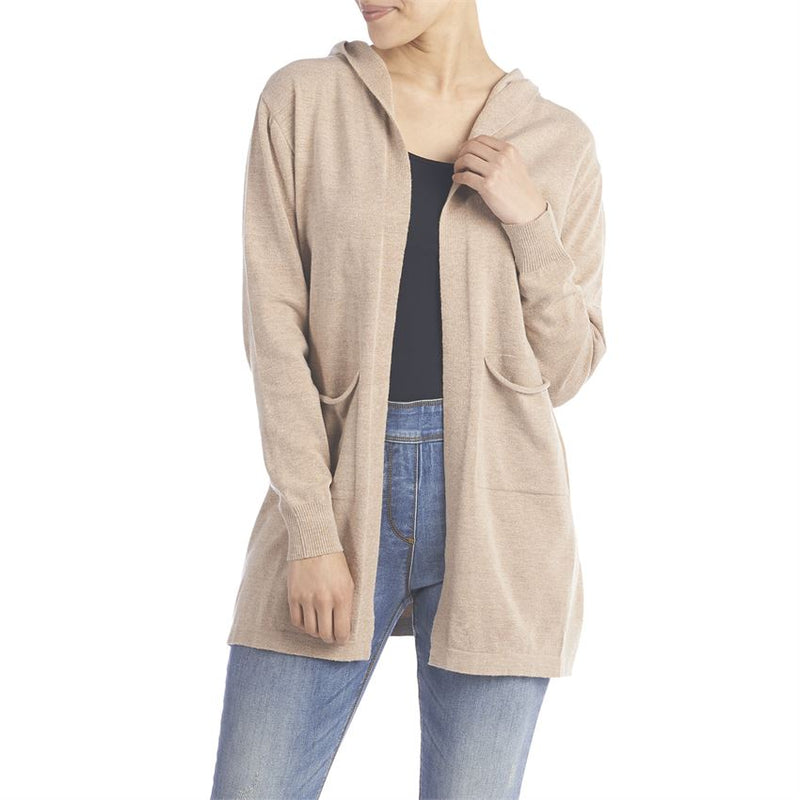 Camel Heather Open Cardigan with Hood