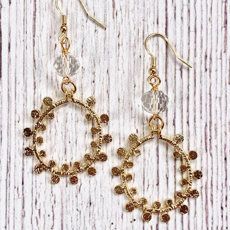Gold Polka Dot Hoop Earrings