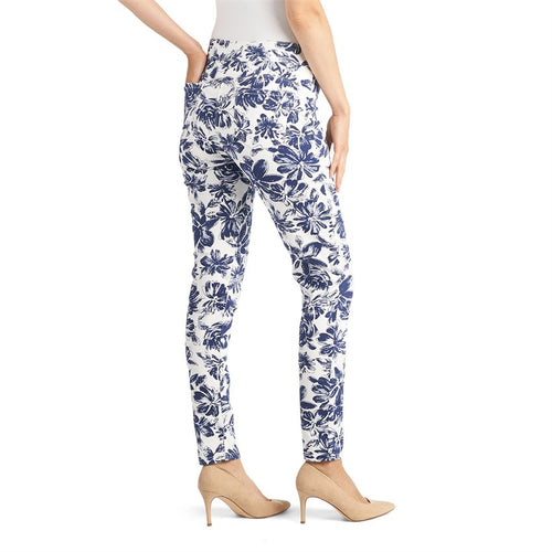 OMG White/Navy Floral Print Jean