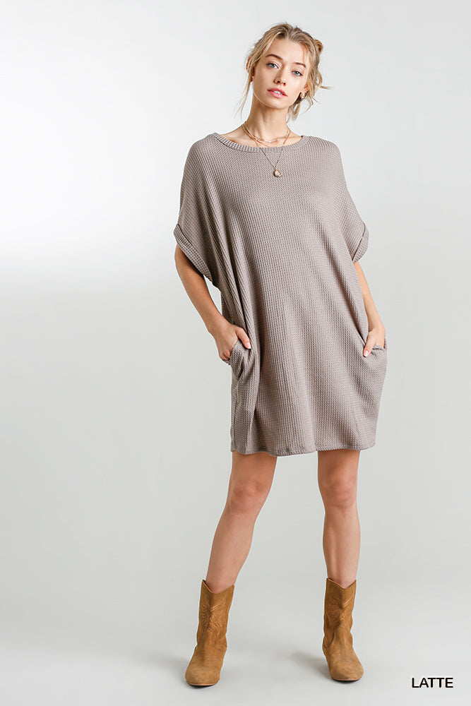 Rolled Sleeve Waffle Knit Tunic Dress-Latte
