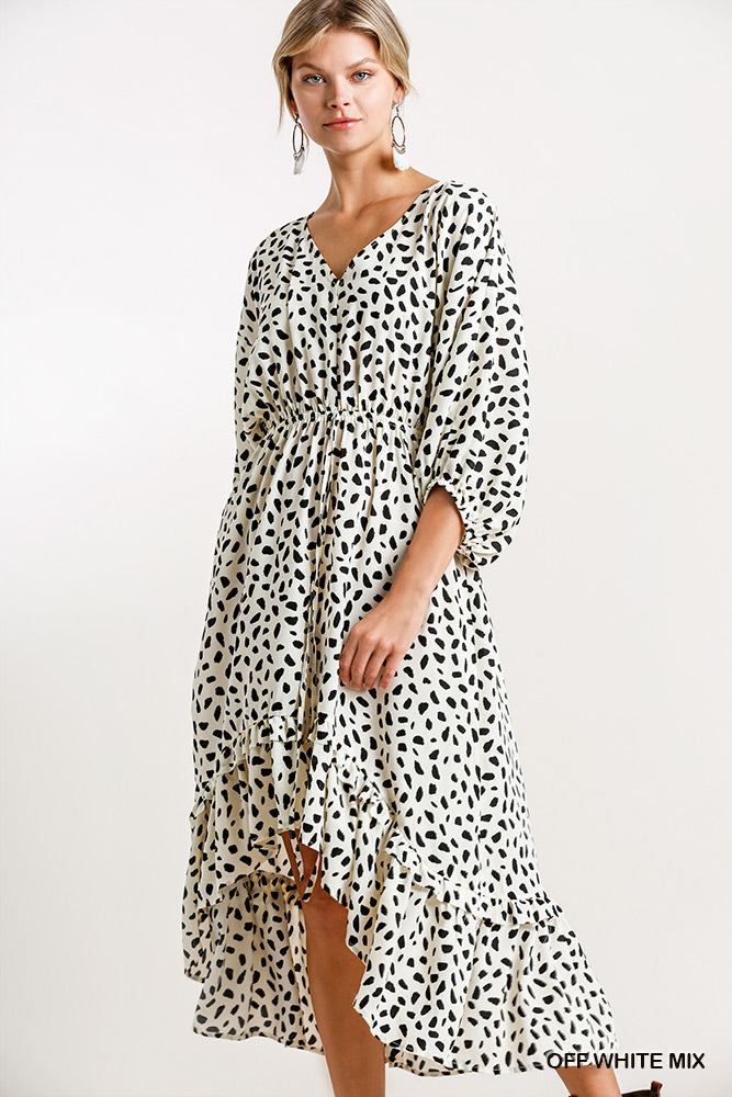 Dalmatian Print High Low Midi Dress-Off White/Black
