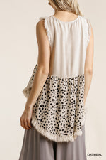 Linen Blend Dalmatian Print Sleeveless Top-Oatmeal