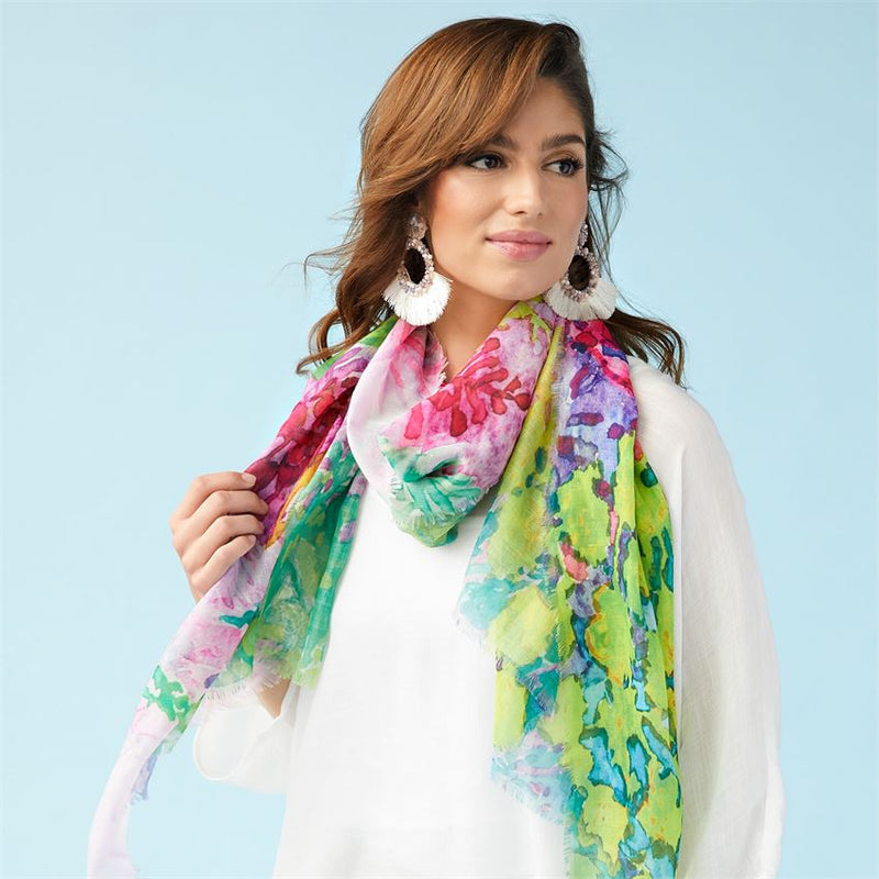 Watercolor Bright Oblong Scarf