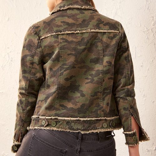 Camo Button Front Jean Jacket
