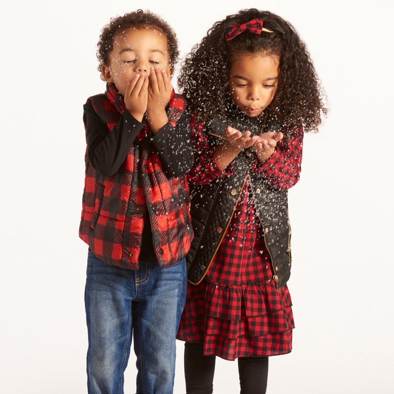Kids Plaid Puffer Vest