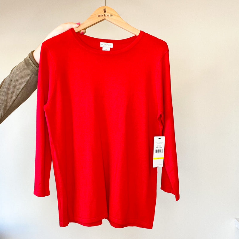 Deluxe Scoop Neck 3/4 Sleeve Sweater