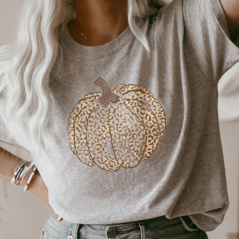 Distressed Grey Leopard Pumpkin Tee