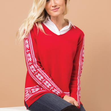 Snow It All Sweater-Red