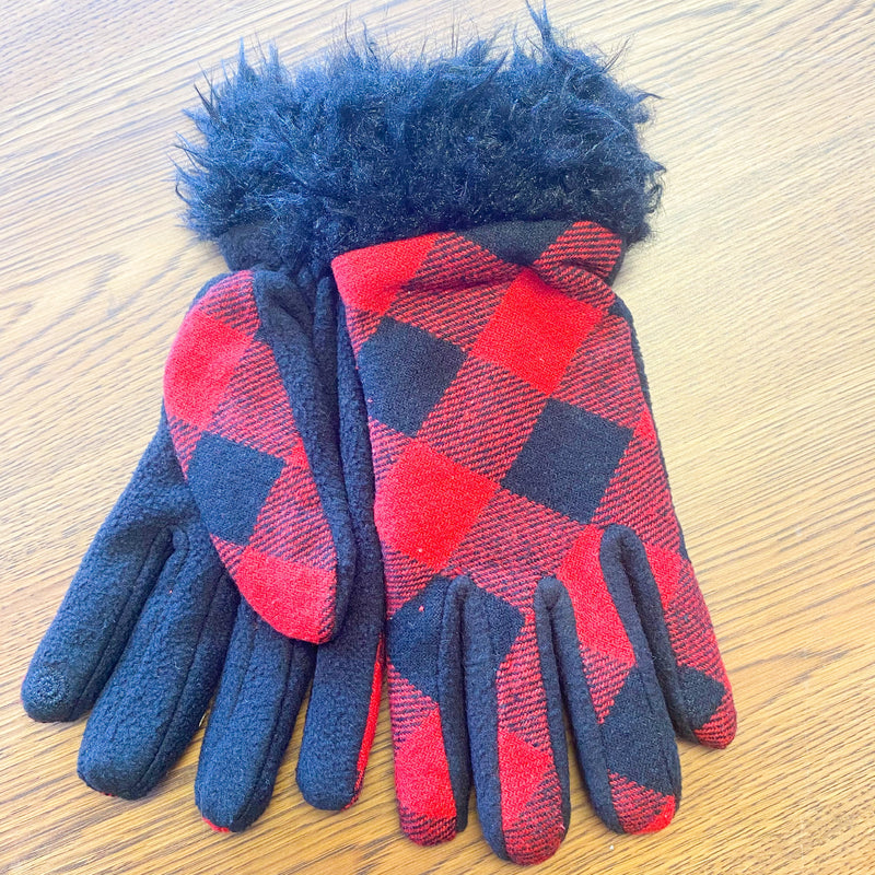 Sherpa Trimmed Plaid Gloves