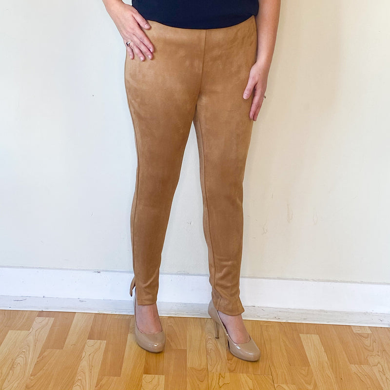 Suede Pull On Ankle Pant