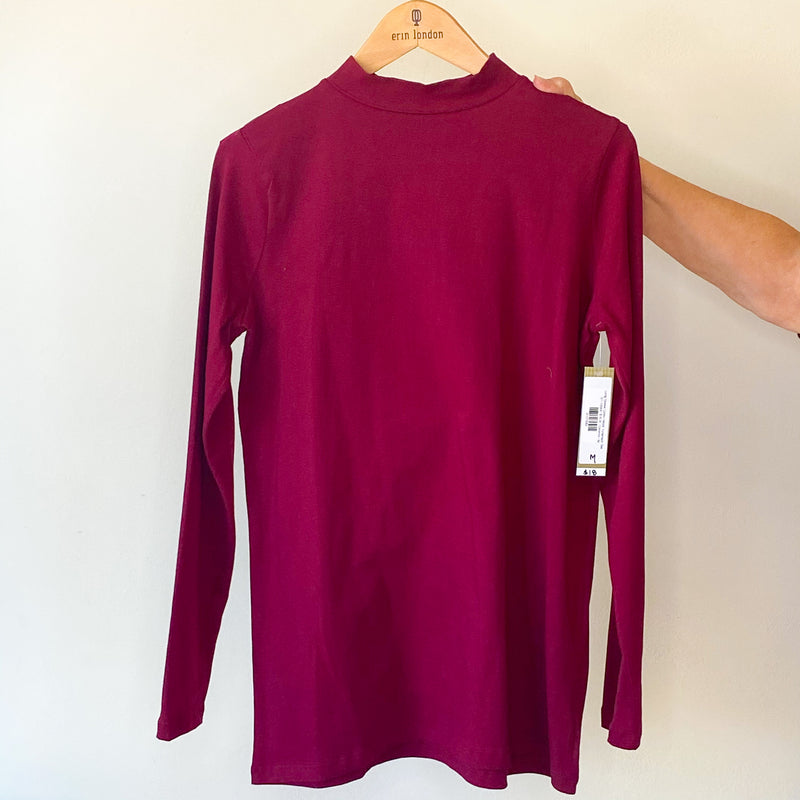 Long Sleeve Cotton Mock Turtleneck Tee
