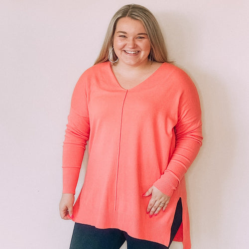 Hi-Lo V-Neck Sweater Tunic