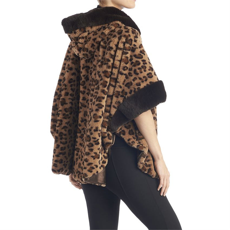Fanny Hooded Cardigan-Brown Animal