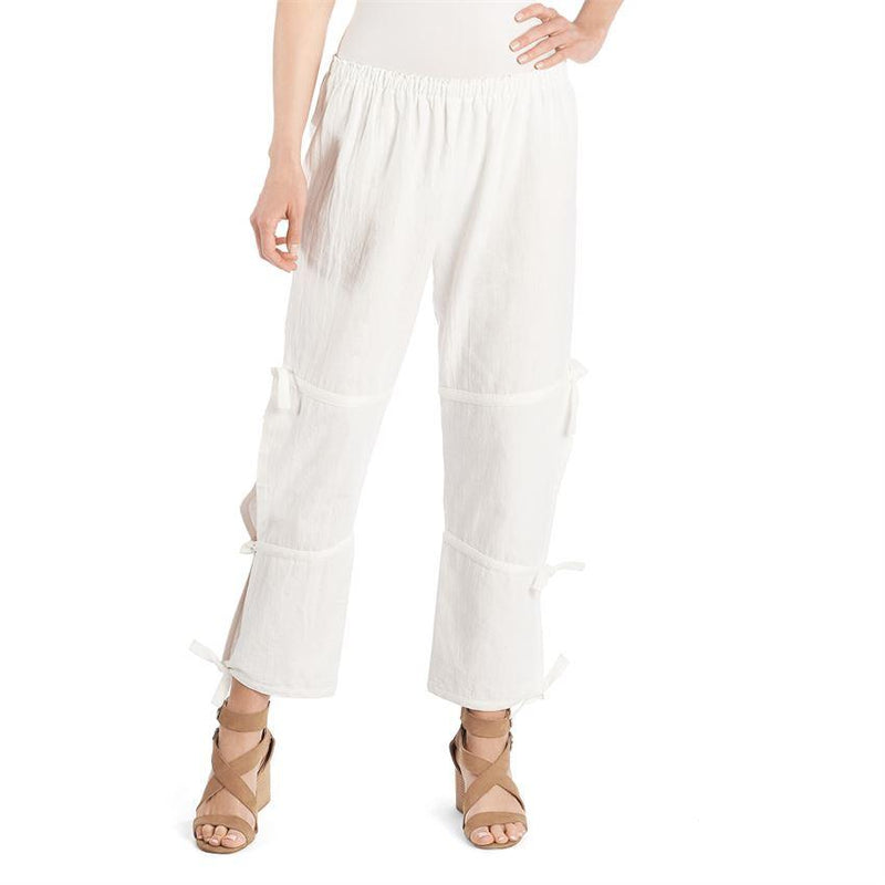 Side Tie Cropped Gauze Pant-White