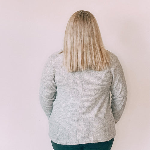 Wrap Front Sweater-Light Grey