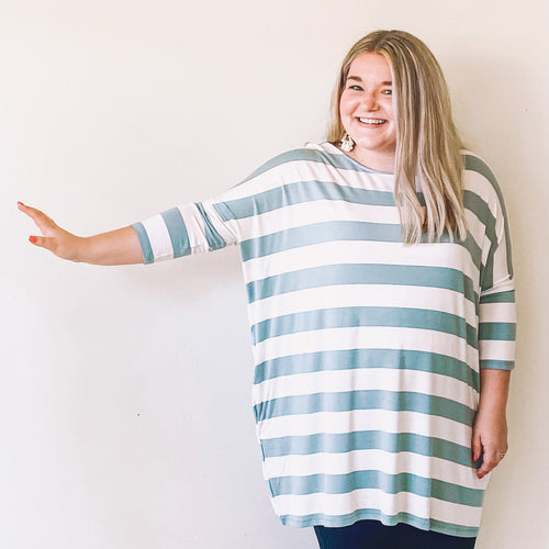 Light Green/Ivory Striped Pocket Tunic