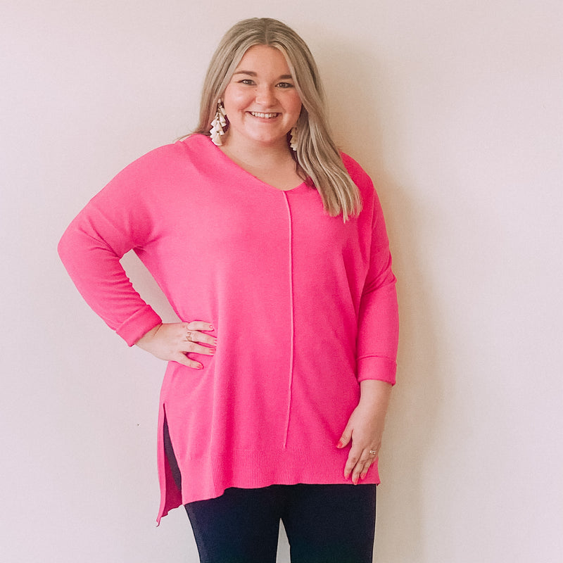 V-Neck Sweater Tunic-Hot Pink