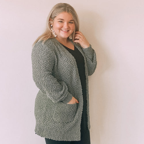 Popcorn Sweater Cardigan-Light Olive
