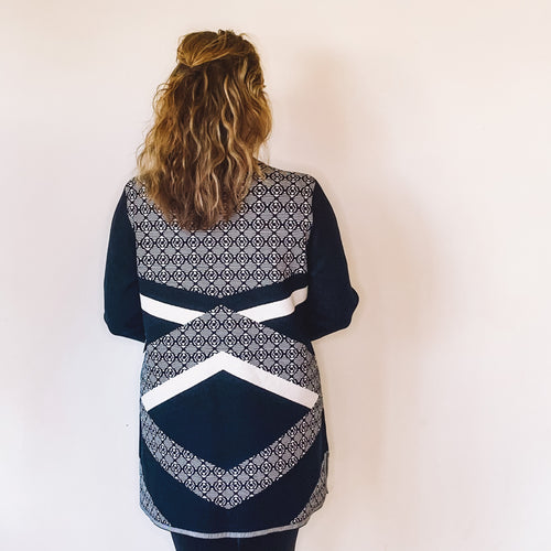 Jacquard Pattern Knit Open Cardigan