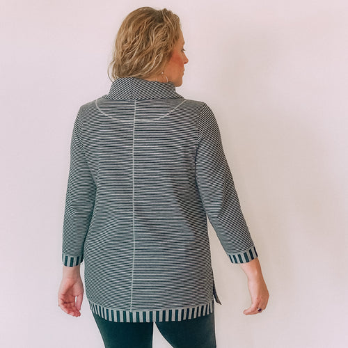 Stripe Double Face Knit Cowl Neck Tunic