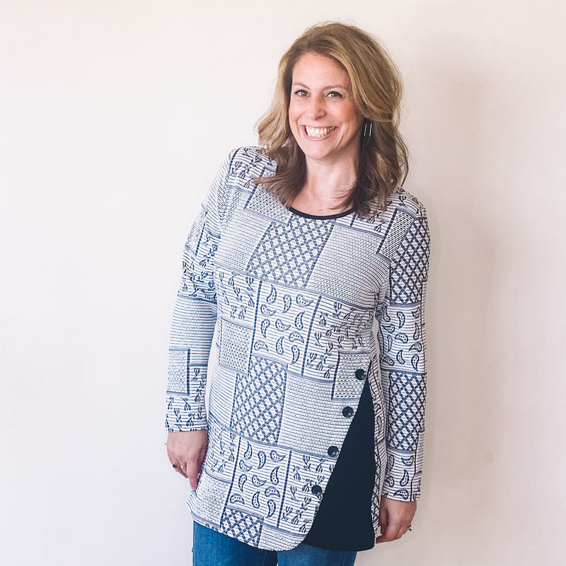 Black and White Print Button Detail Tunic