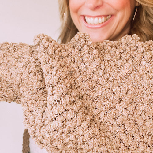 Popcorn Sweater Cardigan-Mocha