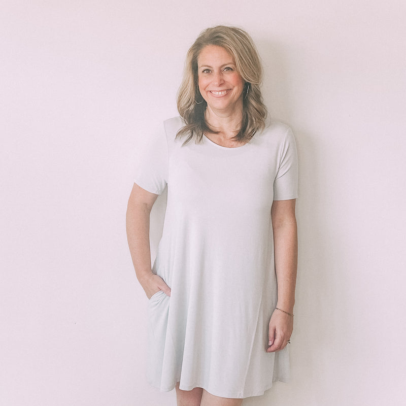 Short Sleeve Pocket Tunic/Dress-Grey Mist