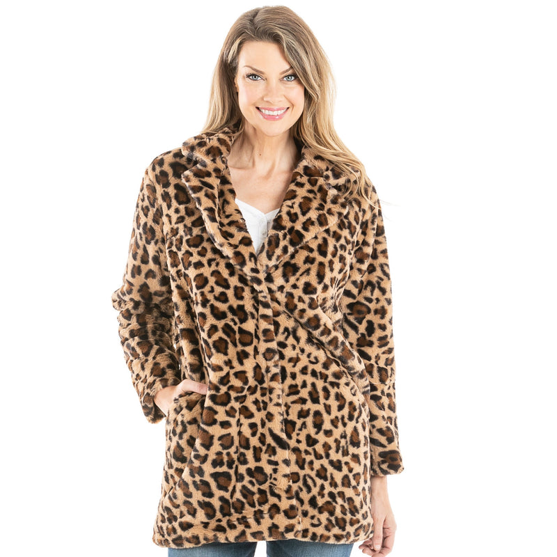 Brown Leopard Faux Fur Long Jacket