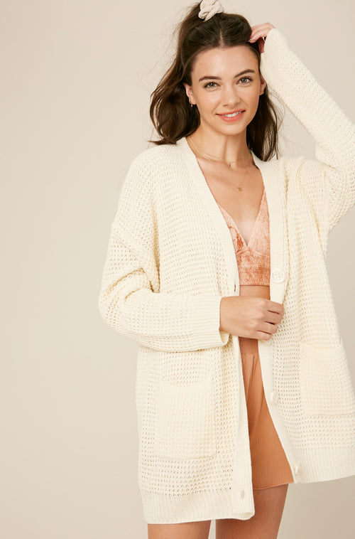 Waffle Button Down Cardigan with Pockets