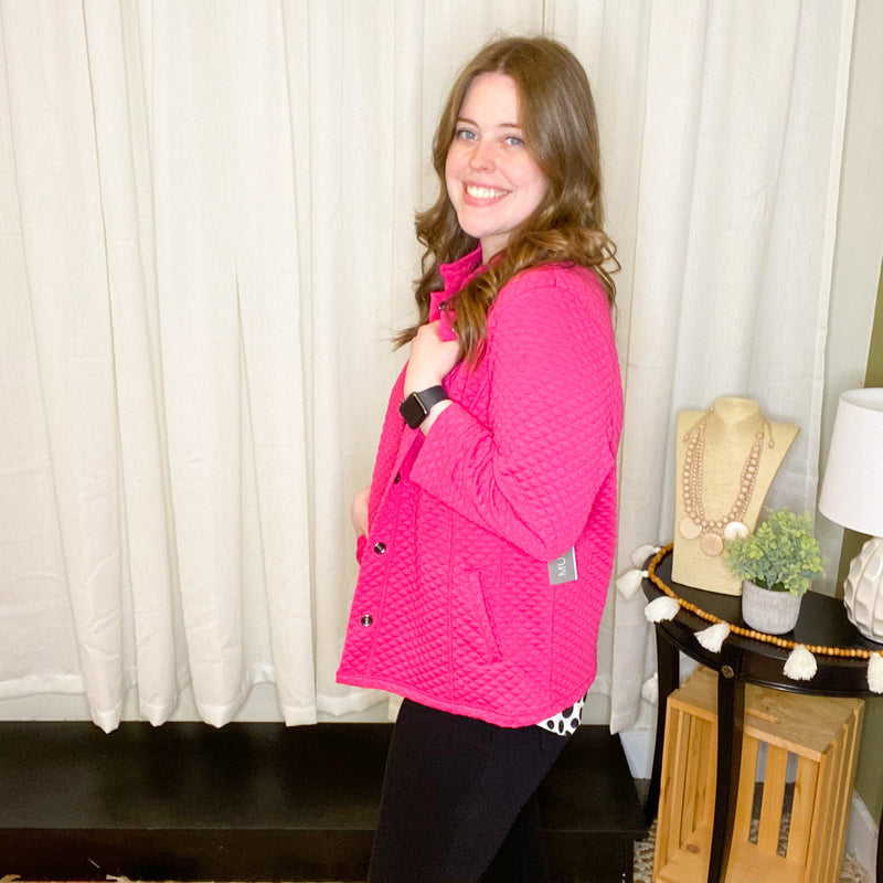 Punch Pink Diamond Quilt Knit Jacket