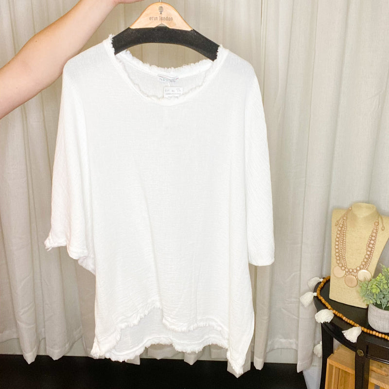 Cotton/Linen Raw Edge Top