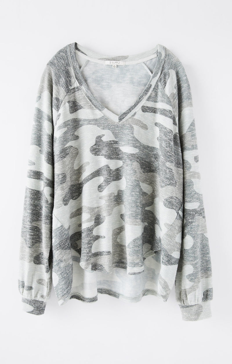 Plira Camo Slub Sweater Top-Ash Green