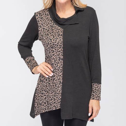 Taupe Leopard Colorblock Top