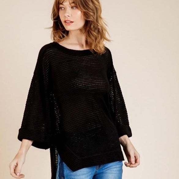 Waffle Knit 3/4 Long Sleeve Top