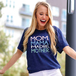 Mom Mama Madre Tee-Navy Speckled