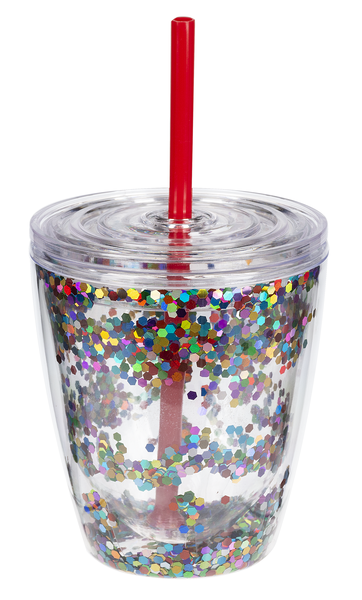 Double Walled Sequin Stemless Wine Glasses with Straw