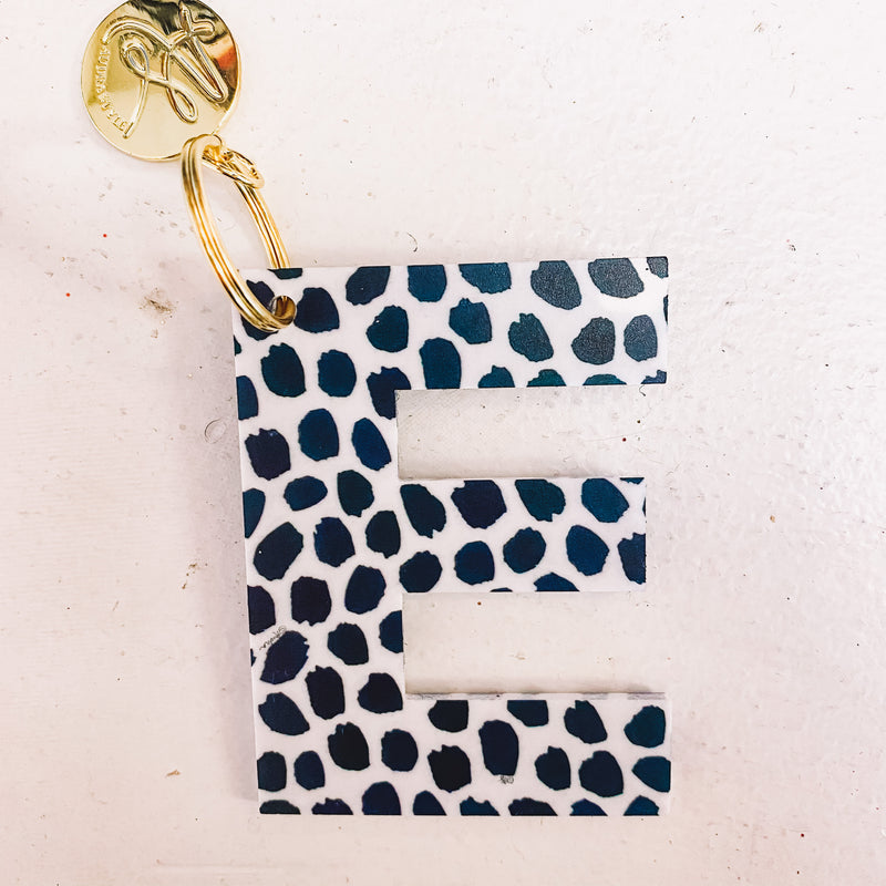Initial Keychains-Black Dot